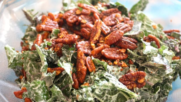 Kale Caesar Salad with Garlic Rosemary Pecan Croutons