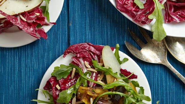 Radicchio Salad with Pears and Roasted Eggplant
