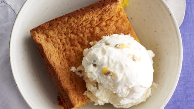 flourless pound cake with passion fruit ice cream