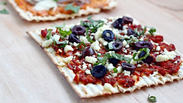 Matzah Pizza Sabra Turkish salad