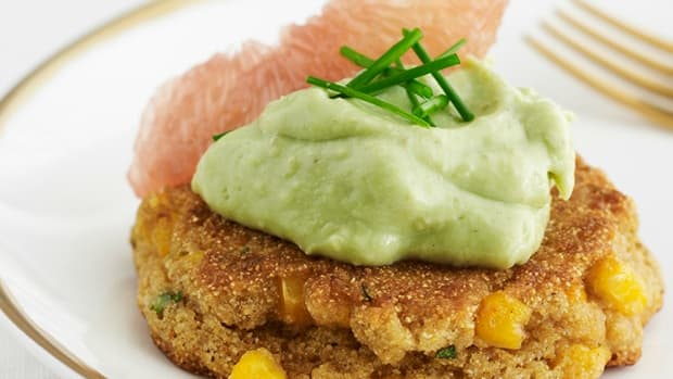 cilantro corn cakes with avocado cream