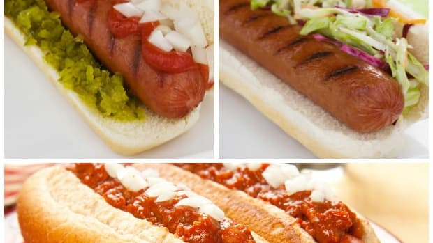 hot dog toppings collage