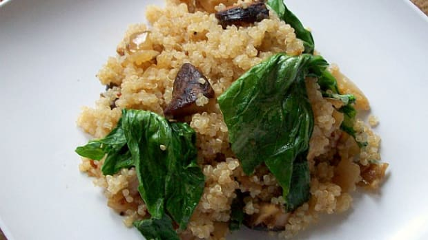 spinach and portobello quinoa
