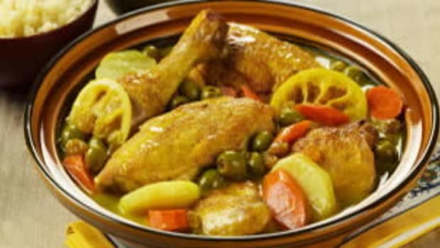 Chicken with Golden Raisins, Green Olives and Lemon