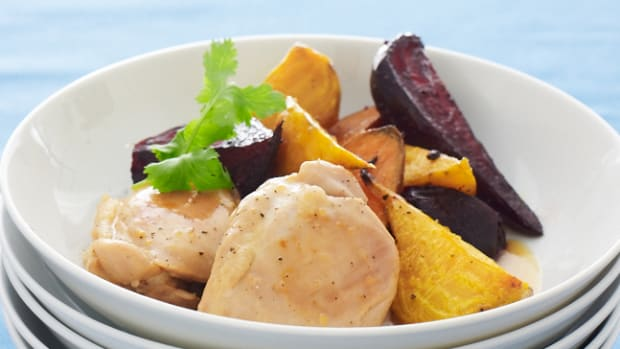 Orange Chicken with Beets and Sweets