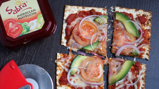 avocado matzah pizza