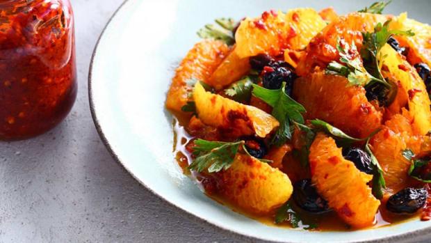 olive harissa orange salad
