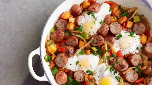 Baked Eggs with Sweet potato hash