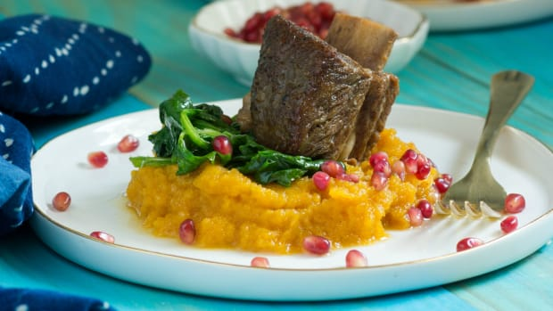 Beer-Braised Short Ribs with Mashed Butternut Squash and Spinach