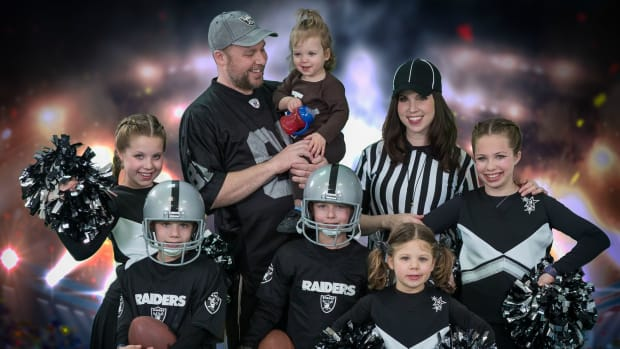 Jamie Geller Family Dressed as a Raiders team