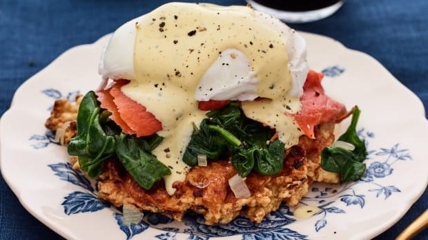 Latke and Smoked Salmon Benedict with Brown Butter Hollandaise
