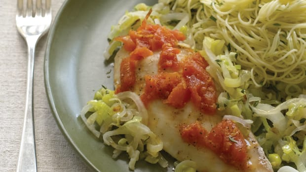 Aromatic Baked Flounder over Capellini