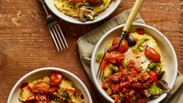 baked polenta with eggs & roasted vegetables