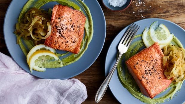 Pan Seared Salmon with Herbed Garlicky Tahini and Saffron Onions