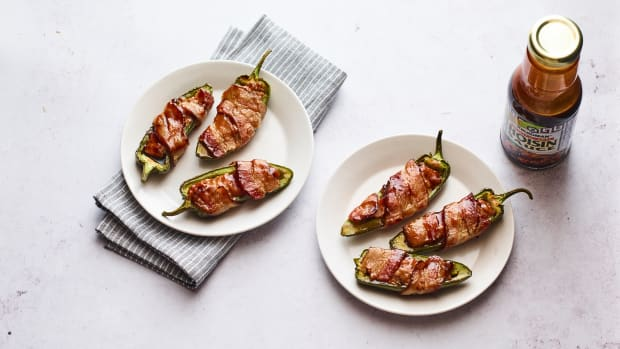 Chicken Stuffed Jalapenos wrapped with kosher bacon