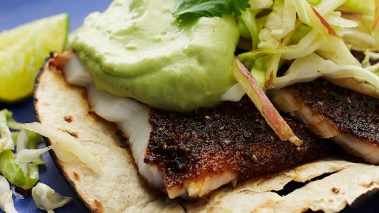 Cooking with Joy: Blackened Tilapia Tacos with Cumin Avocado Sauce