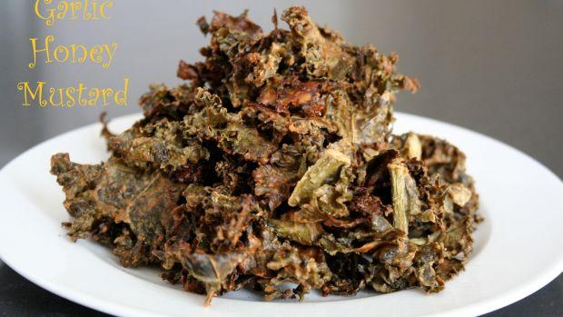 Garlic Honey Mustard Kale Chips