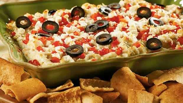 Layered Hot Artichoke & Feta Dip