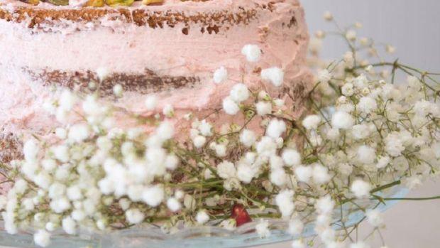 Countdown Pistachio cardamom cream cake with pomegranate filling