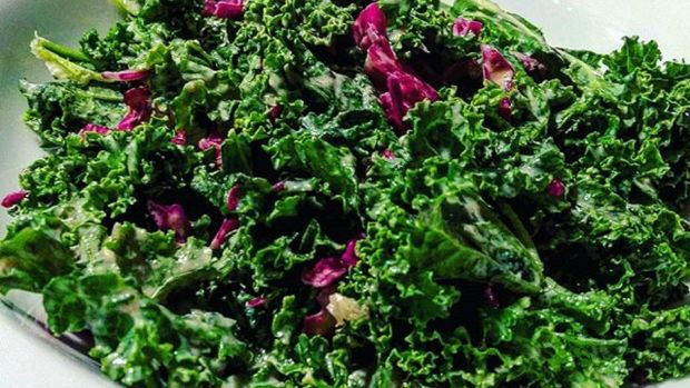 Super Kale Salad with Almond Butter Dressing