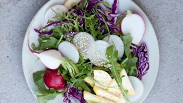 Sweet Daikon Salad with Sesame Citrus Dressing
