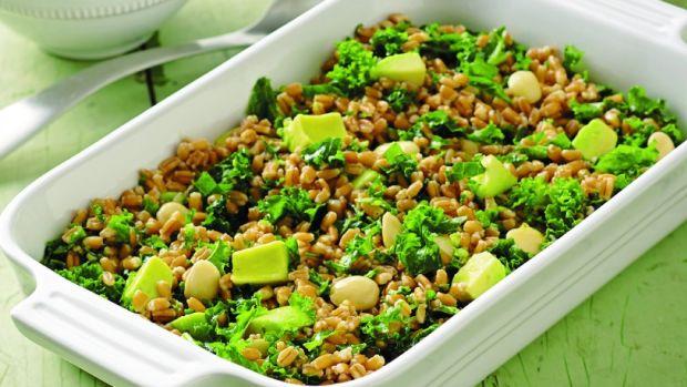 kale farro avocado salad