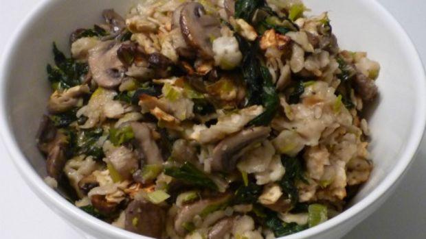 mushroom leek swiss chard stuffing