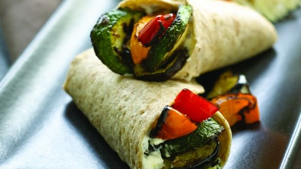 Grilled Vegetable Wraps with Creamy Coleslaw