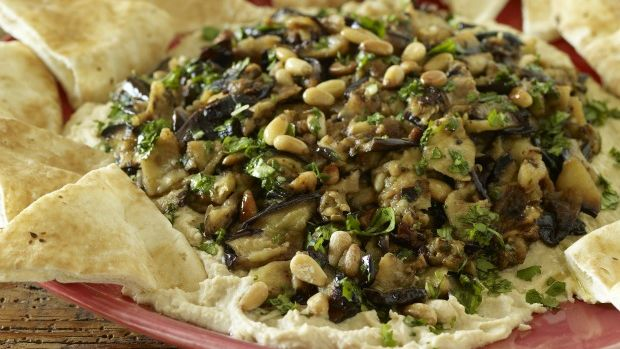 Layered Hummus and Eggplant with Roasted Garlic and Pine Nuts