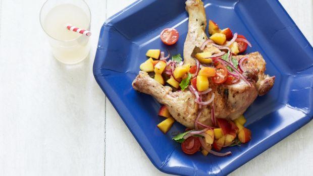 Grilled Chicken Legs with Peach Salsa