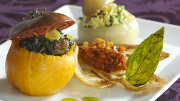 Maui Onions Stuffed with Curried Raisin Couscous