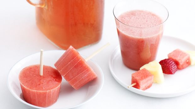 Strawberry and Watermelon Smoothies and Popsicles