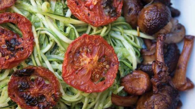 Zucchini Pasta with Mushrooms and Oven Dried Tomatoes
