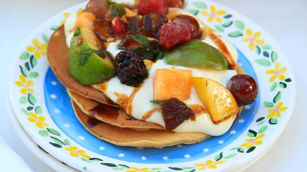 Yogurt Date Honey Pancakes with Sheva Minim Salad