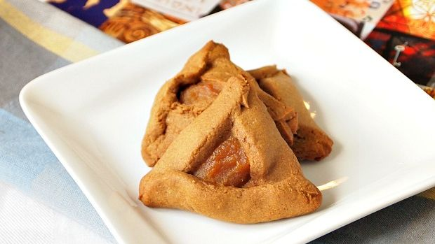 Gingerbread Hamantaschen with Spiced Apple Filling