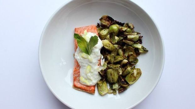 Roasted Salmon with Cucumber and Yogurt