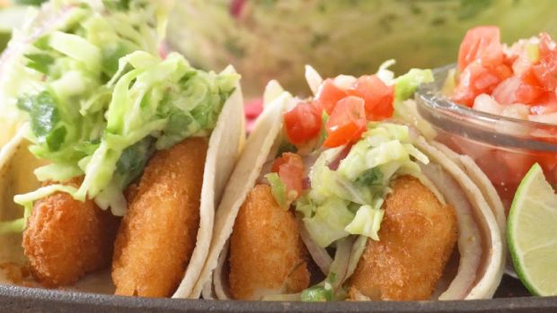 Fish Tacos with Avo Slaw