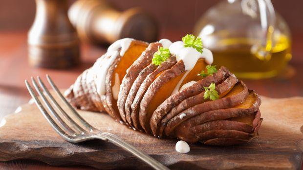 Hassleback sweet potatoes