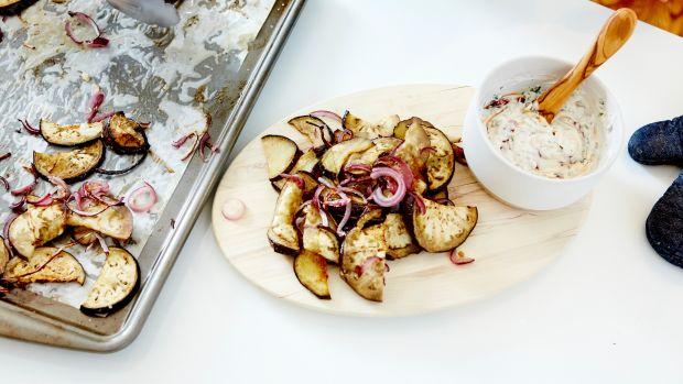 Roasted Eggplant & Red Onion with Yogurt, Silan and Pomegranates 29.jpg