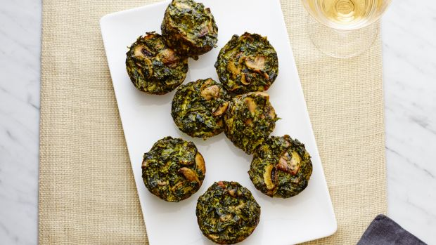 Spinach kugel cupcakes