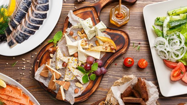 Smoked fish and cheese platter