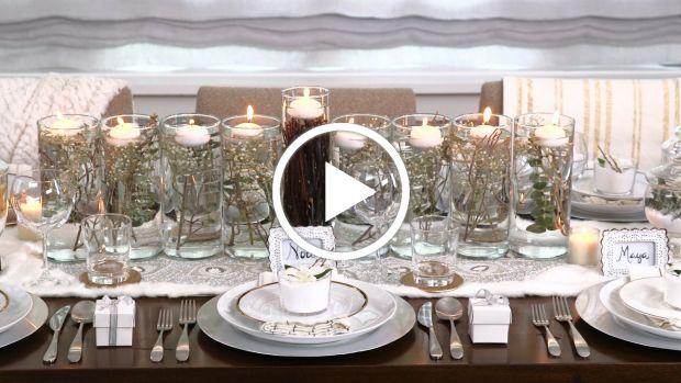Winter Wonderland Hanukkah Table Decor