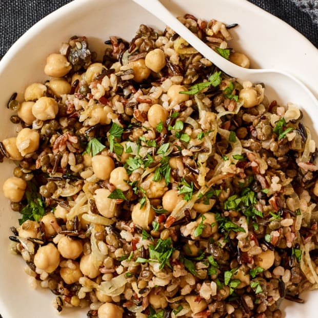 oven baked rice and lentils