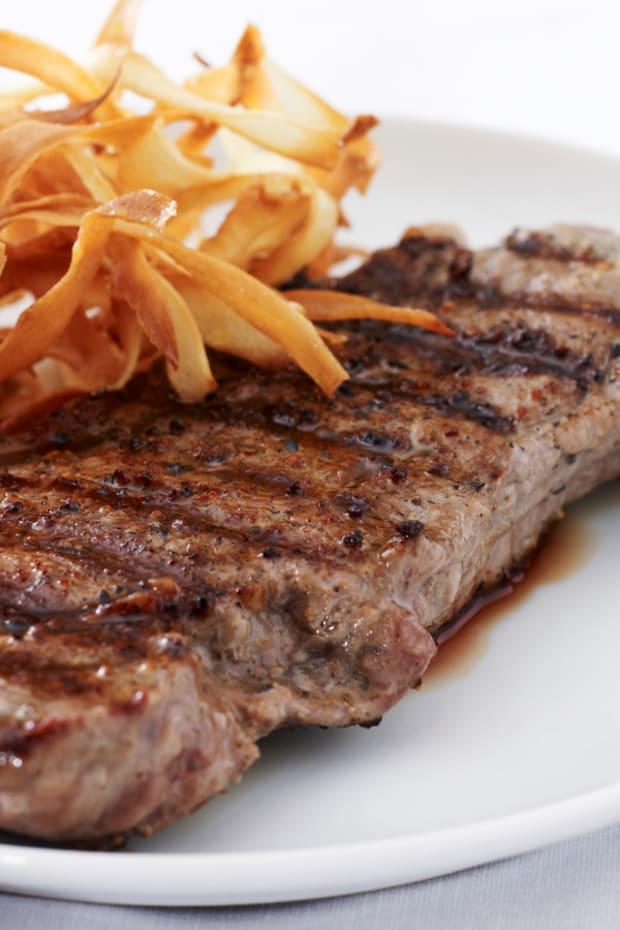 Rib Eye Steak with Parsnip Chips
