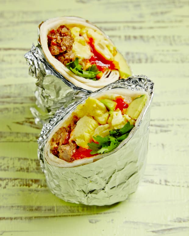Breakfast Burrito with Chorizo and Eggs