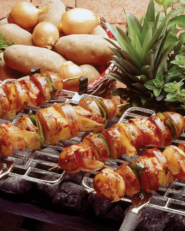 idaho potato and salmon shish-kebab