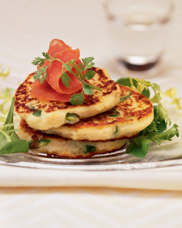idaho potato and asparagus pancakes