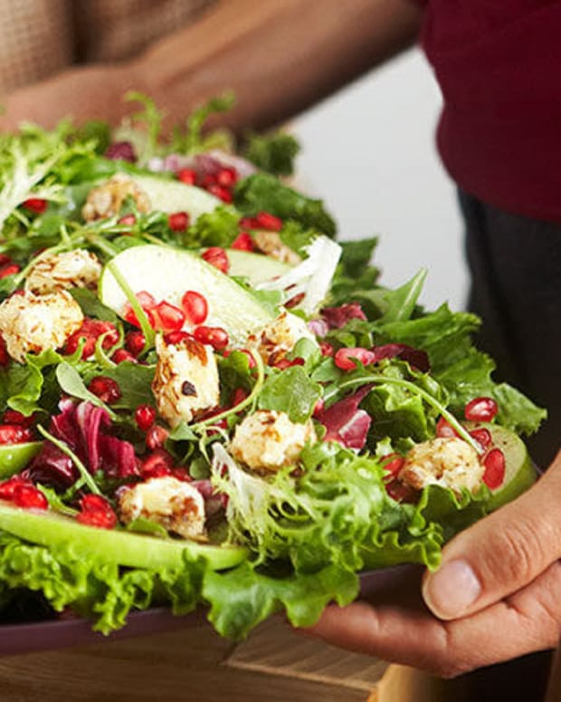 """Mixed Green Salad with Warm Cream Cheese """"Croutons"""""""