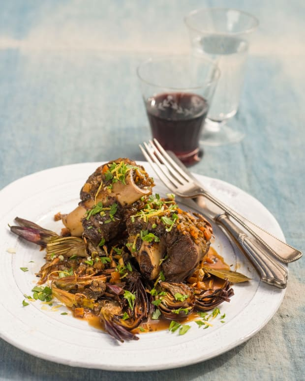 BRAISED LAMB SHANKS WITH CRISPED ARTICHOKES AND GREMOLATA