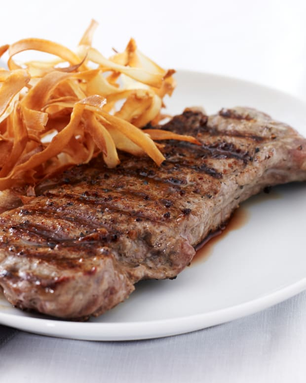GRILLED RIB EYE WITH CRISPY PARSNIPS